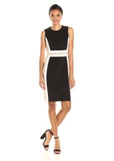Calvin Klein Women's Sleeveless Round Neck Scuba Sheath Dress with Color Blocking
