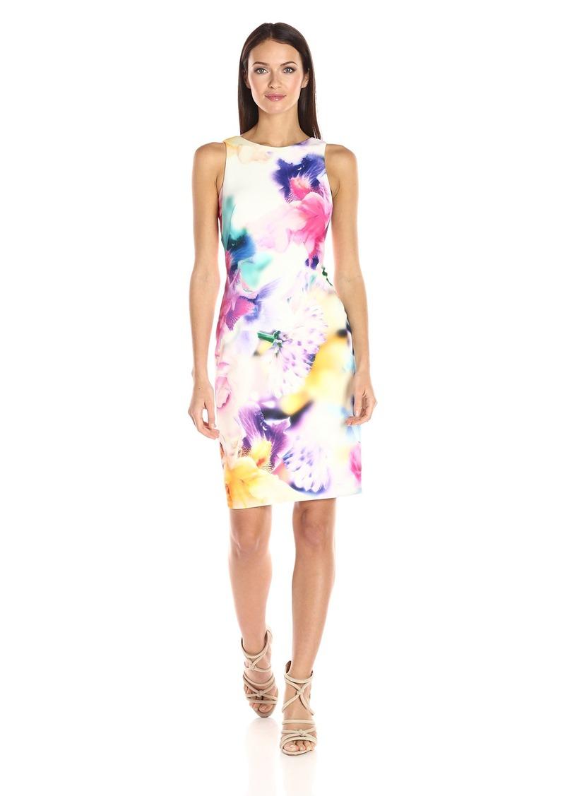Calvin Klein Women's Sleeveless Round Neck Sheath Dress in Printed Scuba