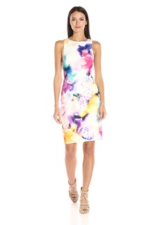 Calvin Klein Women's Sleeveless Round Neck Sheath Dress in Printed Scuba