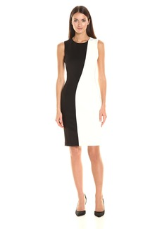 Calvin Klein Women's Sleeveless Round Neck 2 Tone Dress