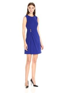 Calvin Klein Women's Sleeveless Round Neck Sheath Dress with Draped Skrt