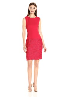 Calvin Klein Women's Sleeveless Round Neck Sheath Dress with Lace Panel at Hem