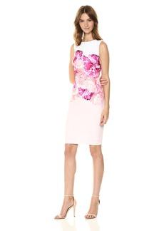 Calvin Klein Women's Sleeveless Round Neck Sheath with Floral Print
