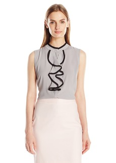Calvin Klein Women's Sleeveless Ruffle Front Top with Piping