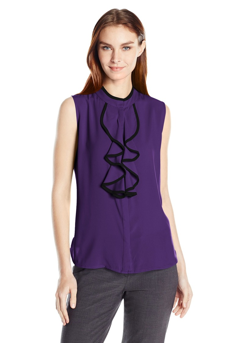 Calvin Klein Women's Sleeveless Ruffle Front Top with Piping  M