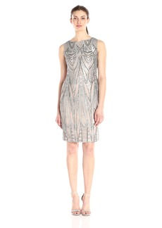 Calvin Klein Women's Sleeveless Sequin Sheath Dress w. Illusion Neckline