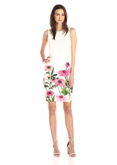 Calvin Klein Women's Sleeveless Sheath Dress with Floral Print At Hem