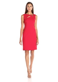 Calvin Klein Women's Sleeveless Sheath Dress with Front Cut Out