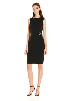 Calvin Klein Women's Sleeveless Sheath Dress with Hardware AT Waist