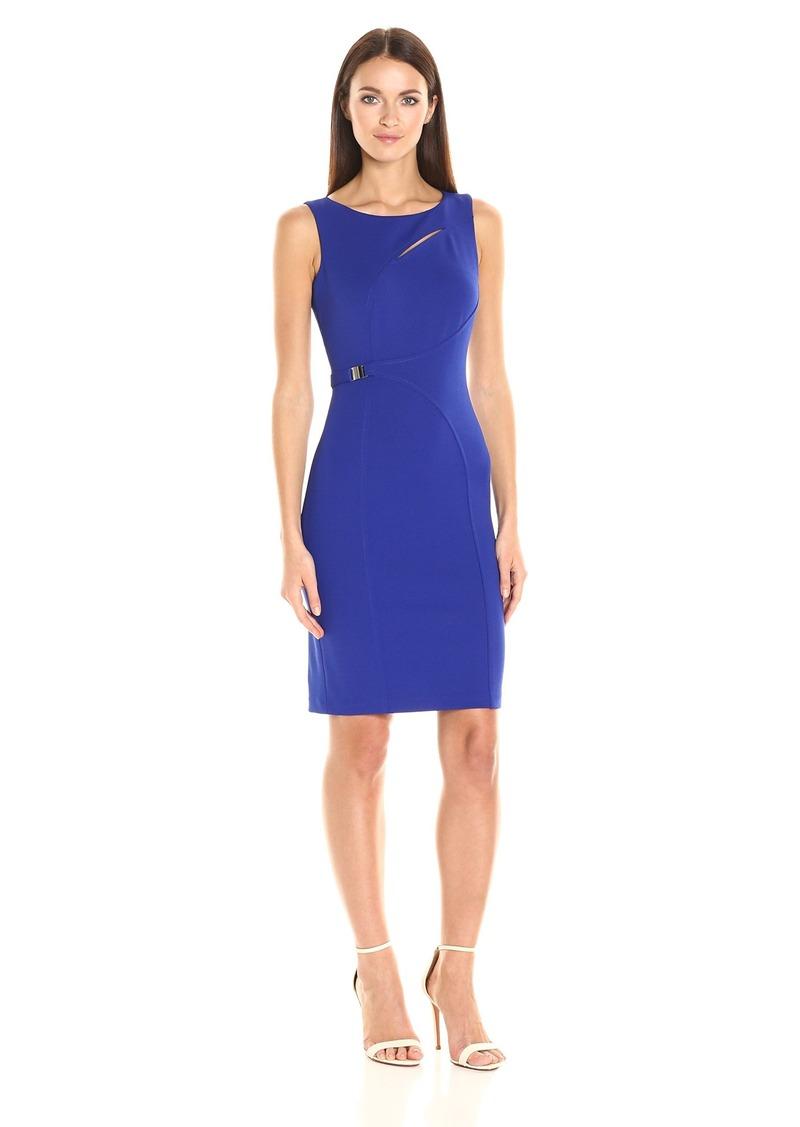 Calvin Klein Women's Sleeveless Sheath Dress with Neck Cut Out