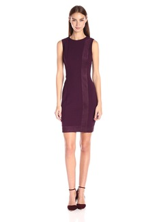 Calvin Klein Women's Sleeveless Sheath Dress with Suede Mix