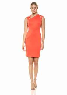 Calvin Klein Women's Sleeveless Sheath with Asymmetrical Neckline Dress