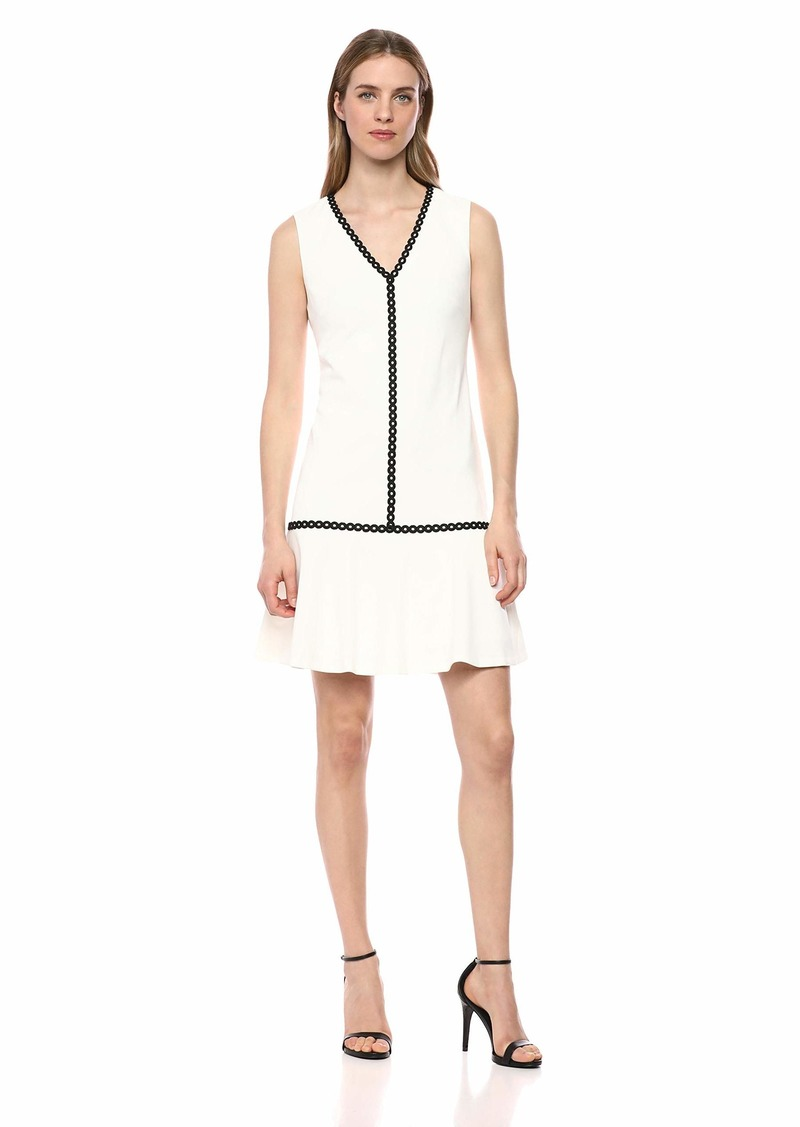 Calvin Klein Women's Sleeveless Sheath with Flounce Hem and Novelty Trim