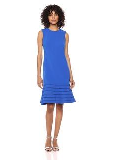 Calvin Klein Women's Sleeveless Sheath with Flounce Skirt Dress