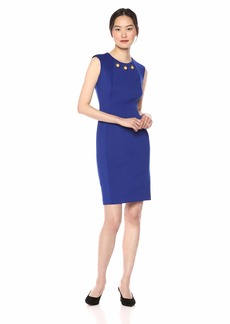 Calvin Klein Women's Sleeveless Sheath with Gold Ring Cut Out Dress