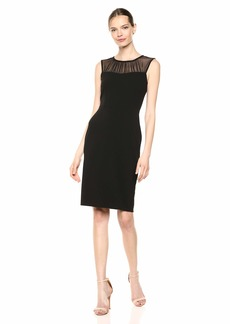 Calvin Klein Women's Sleeveless Sheath with Illusion Neck Yolk