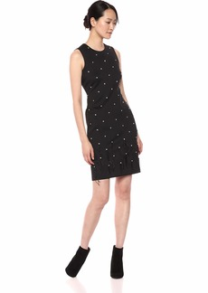 Calvin Klein Women's Sleeveless Sheath with Rhinestone and Feather Embellishment
