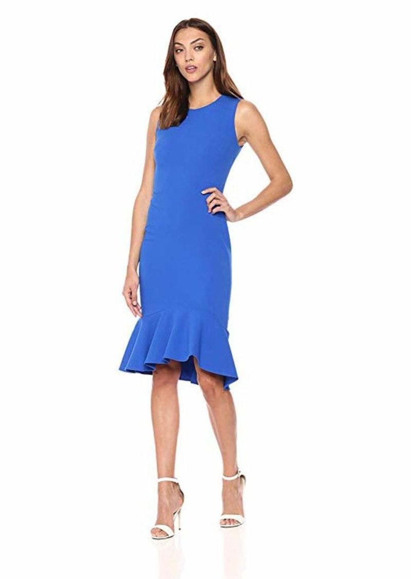 Calvin Klein Women's Sleeveless Sheath with Ruffle Hem Dress