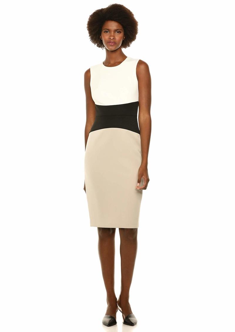 Calvin Klein Women's Sleeveless Sheath with Wide Seamed Waistband Cream/Khaki/black