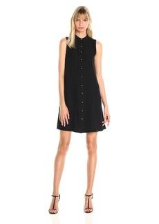 Calvin Klein Women's Sleeveless Shirt Collar Button Front Crepe Trapeze Dress