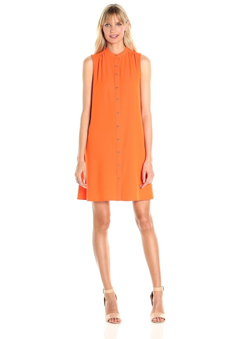 Calvin Klein Women's Sleeveless Shirt Collar Button Front Crepe Trapeze Dress