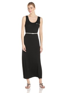 Calvin Klein Women's Sleeveless Solid Belted Maxi Dress