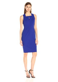 Calvin Klein Women's Sleeveless Square Neck Sheath Dress with Pleating At Neckline