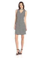 Calvin Klein Women's Sleeveless Striped Cutout Dress White/Black