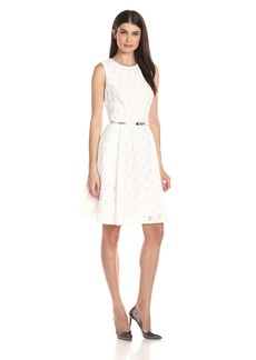 Calvin Klein Women's Sleeveless Textured Fabric Fit and Flare Dress with Belt AT Waist
