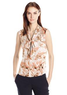 Calvin Klein Women's Sleeveless Tie Neck Top  L