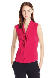 Calvin Klein Women's Sleeveless Tie Neck Top  L