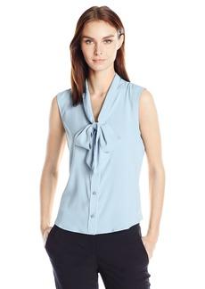 Calvin Klein Women's Sleeveless Tie Neck Top  M