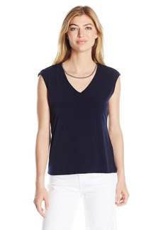 Calvin Klein Women's Sleeveless Top with Chain Necklace  L