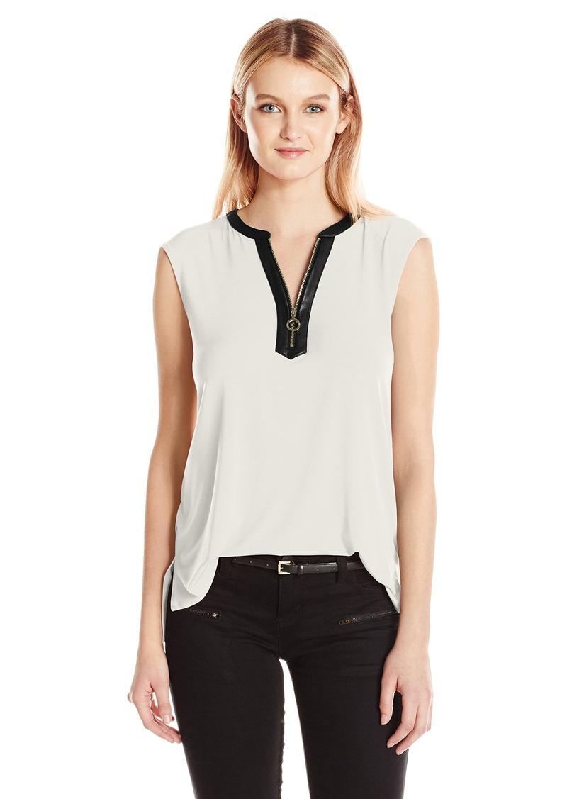 Calvin Klein Women's Sleeveless Top with Half Zip  L