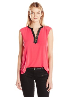 Calvin Klein Women's Sleeveless Top with Half Zip