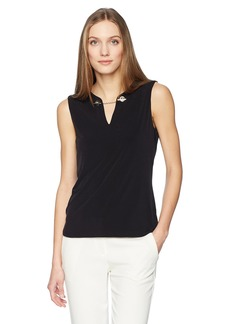 Calvin Klein Women's Sleeveless Top with Keyhole and Chain  M