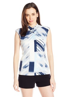 Calvin Klein Women's S/l Top with Ruching AT Neck