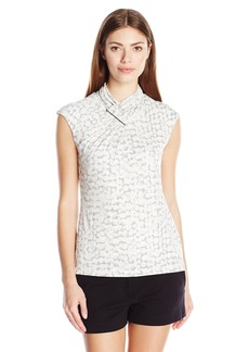 Calvin Klein Women's S/L Top Withruching AT Neck