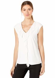 Calvin Klein Women's Sleeveless TOP with Sweater Ruffle