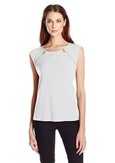 Calvin Klein Women's Sleeveless Top with Zipper Pulls