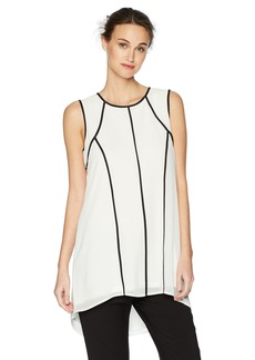 Calvin Klein Women's Sleeveless Tunic with Piping  L
