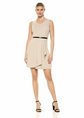 Calvin Klein Women's Sleeveless V Neck Belted A Line Dress
