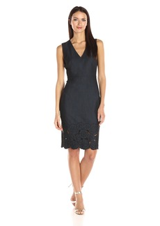 Calvin Klein Women's Sleeveless V-Neck Denim Sheath Dress with Floral Detail