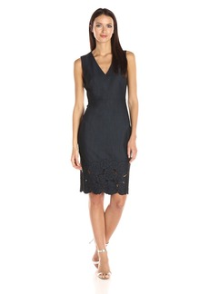 Calvin Klein Women's Sleeveless V-Neck Denim Sheath Dress with Floral Detail