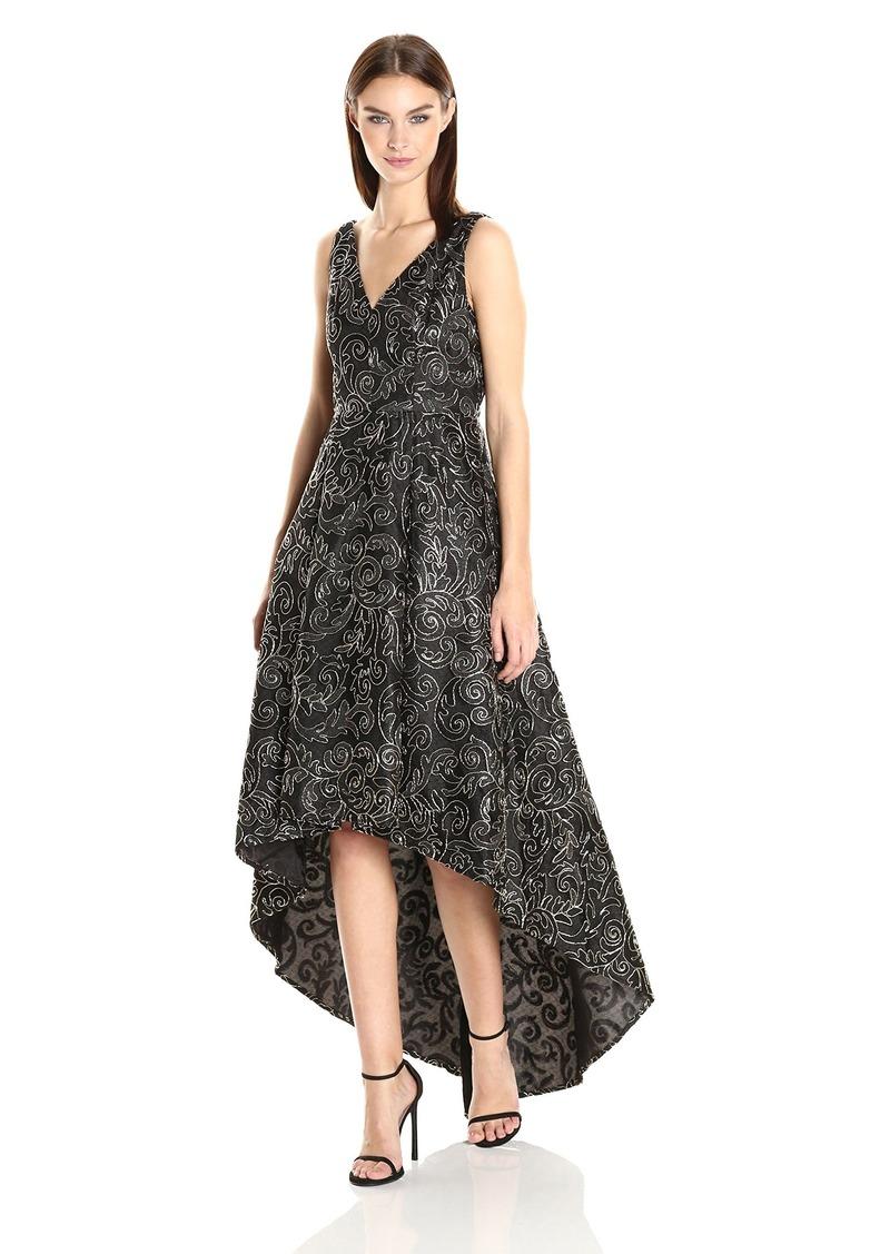 Calvin Klein Women's Sleeveless V-Neck High Low Hem Gown