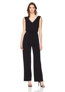 Calvin Klein Women's Sleeveless V Neck Jumpsuit with Self Sash Waist
