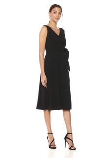 Calvin Klein Women's Sleeveless V Neck Midi Dress with Self Sash Waist