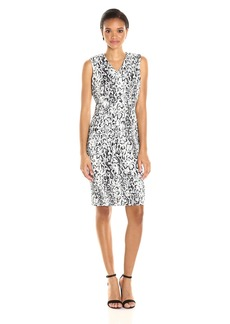 Calvin Klein Women's Sleeveless V-Neck Scuba Sheath Dress in Snake Print