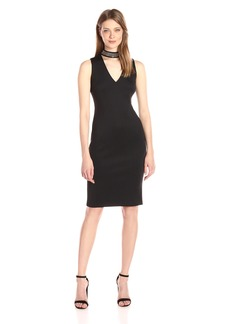 Calvin Klein Women's Sleeveless V-Neck Scuba Sheath Dress with Necklace Choker
