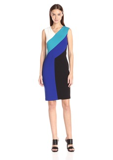 Calvin Klein Women's Sleeveless V-Neck Sheath Dress with Back Zipper